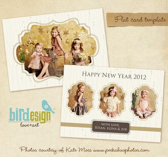 PSD Holiday Card Template - Gold Heart - E243