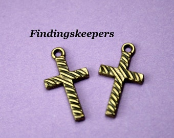12 Cross Charms, Antique Bronze Tone 22 x 12 mm -  bz206