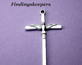 2 Cross Charms, Cross With Dove, 40 x 22 mm, Antique Silver  U.S. Seller,  ts 061-2