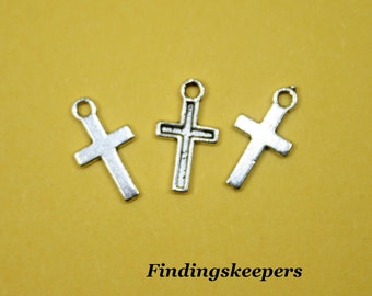 16 Cross Charms, Antique Silver Crosses, 15 x 8 mm  -  ts075-2