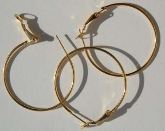 6 - Hoop Earrings, 35 mm Gold Plated, #U.S Seller ew014