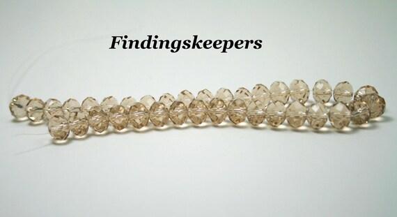 36 - 8mm Light Tan Glass Rondelle Beads 8b035-2