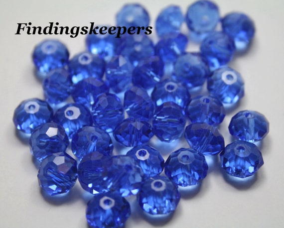 36 - 8mm  Blue Glass Rondelle Beads 8b038