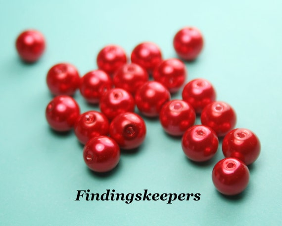 20 - 8 mm Red Beads, Round Glass Beads,  Pearl Beads,  8b047-1