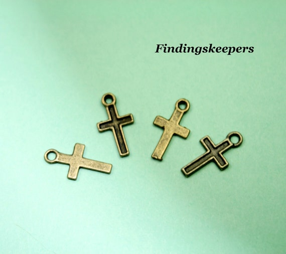 10 - 15 x 8 mm Bronze Cross Charms bz 081-1