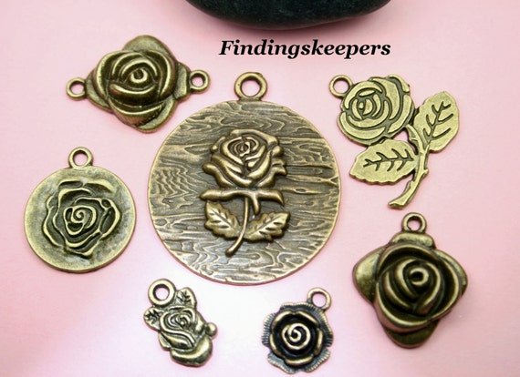 7 - Bronze Rose Flower Charm Set  bz089