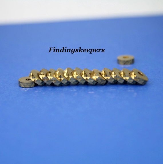 22 - Vintage Etched Brass Flat Spacer Beads f007