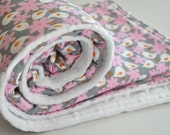BABY/TODDLER blanket in White Birds and Pink Flowers