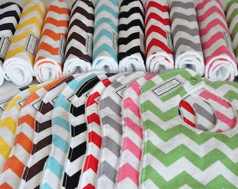 Pick 3 Chevron Items, Baby Bibs and Burp Cloths