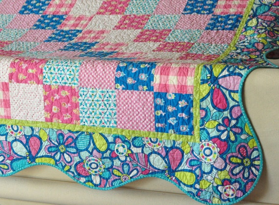 FREE SHIPPING in US Quilt Summersault Hide and Seek girl baby toddler minky back 54 x 63