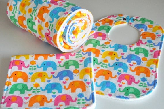 Baby Blanket Gift Set, (Sale)  blanket, bib and burp cloth in Elephants on Parade