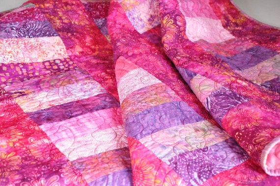 Quilt Pink and Purple batik girl baby toddler minky back 47 X 54