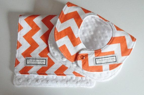 Baby Bib and Burp Cloth, Chevron orange