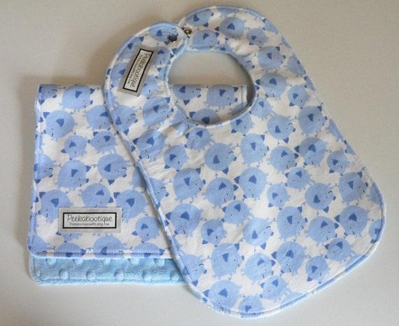 Baby Bib and Burp Cloth, Blue PIGS