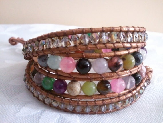 Beaded Leather Wrap Bracelet with Fire-polished Czech Beads & Mixed Gemstones