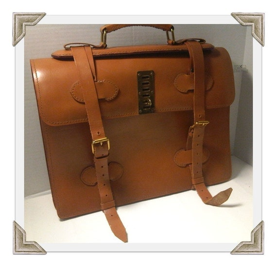 Vintage Tan Leather Briefcase/ Valise