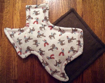 Set of Two Pot Holders, Texas/Cowboys