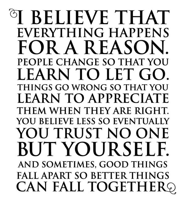 Things Happen For A Reason Quotes: Wall Vinyl Quote Everything Happens For A Reason Marilyn