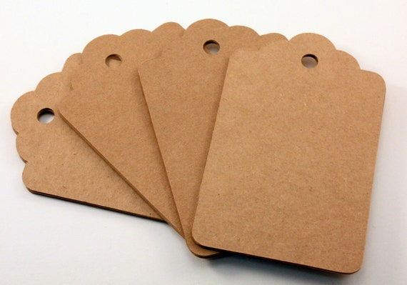 100 Gift Tags . Large Kraft Tags . Kraft Scallop Tags . 4 x 2.5 inch