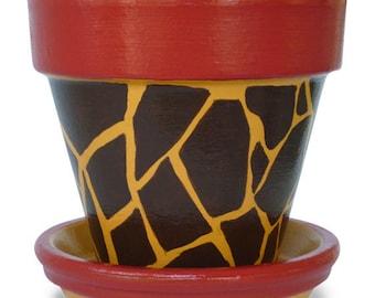 Giraffe Animal Print Flower Pot Planter