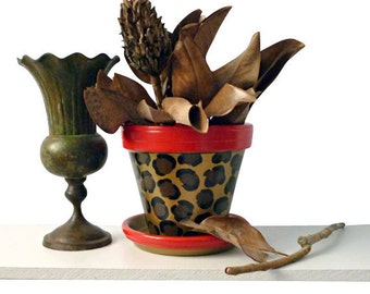 6-inch Painted Flower Pot Planter With Leopard Animal Print In Red and Metallic Gold For Funky Decor