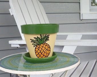 Hand Painted Flower Pot With Pineapple For Housewarming Gift Or Hostess Gift - 6-inch pot