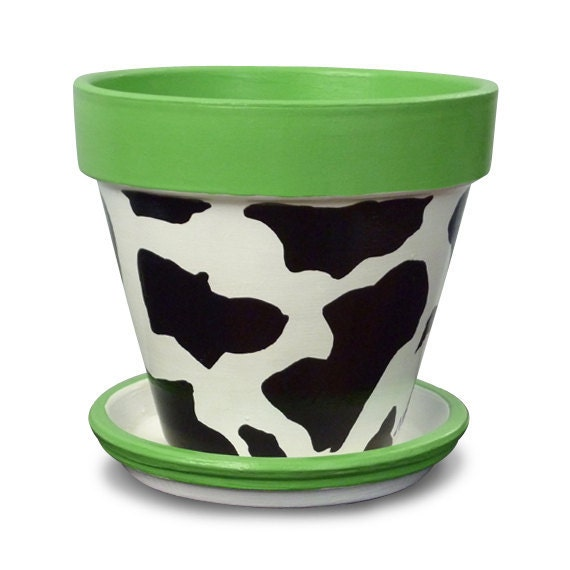 Kitchen Organizer in a Cow Clay Pot for your Gift Ideas - 6-inch pot