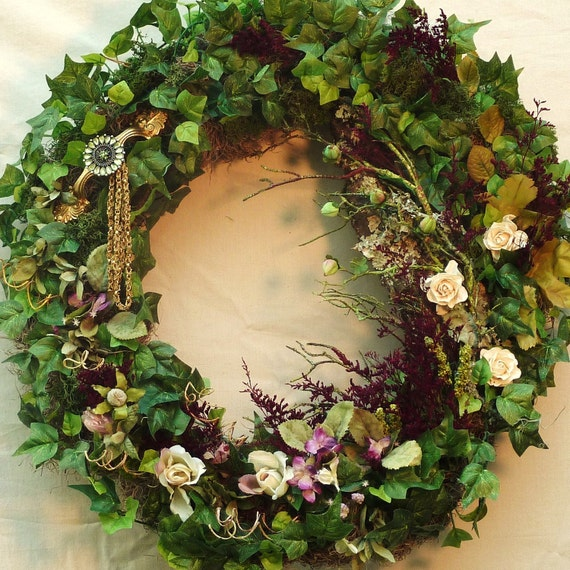 One of a Kind Green Wreath with Burgundy Dried Flowers, Roses, Ivy