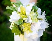 White and Green Handmade Paper Flower Wedding Flowers/Bridal Bouquet-- almost SPRING SALE 20% off