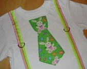 Boys Easter Shirt, Boy Easter Tie Shirt, Boy Easter Outfit, Tie and Suspenders Little Man Shirt, Easter Bunny Shirt, Christian T Shirt