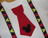 Mickey Mouse Shirt, Mickey Birthday Shirt, Boys Mickey Mouse Tie Shirt and Suspenders, Boy Shirt Disney Cruise, Disney Vacation