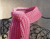 Hand Crocheted Kids Pink Scarf-Free Shipping