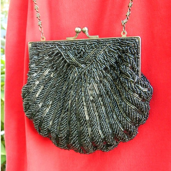 REDUCED: Black Beaded Clutch