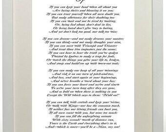 """Rudyard Kipling's Poem If Print 16""""X12"""" large wartime poem Kipling unframed poster canvas style paper IF"""