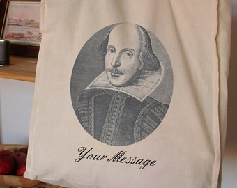 WILLIAM SHAKESPEARE BAG Personalised Unique Cotton Shopper 16th Century Tudor Bard Shakespeare Bill English stage actors playwright opera