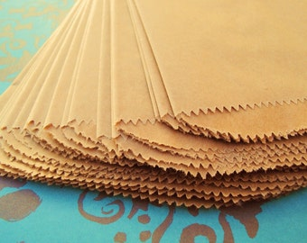 "Kraft Paper Bags - 100 - 5"" x 7.5"" - Birthday Party & Treat Gift Bags - 5 x 7 1/2 - Flat Merchadising Packaging"