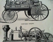 Steam Traction Engine, Vintage Farming Equipment, Father's Day Gift,  8x11,1949 Book Page, Black and White Illustrations