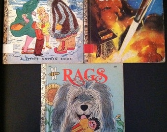 "1st Edition ""A"" Little Golden Books - Mary Poppins The Magic Compass, Exploring Space, Rags"