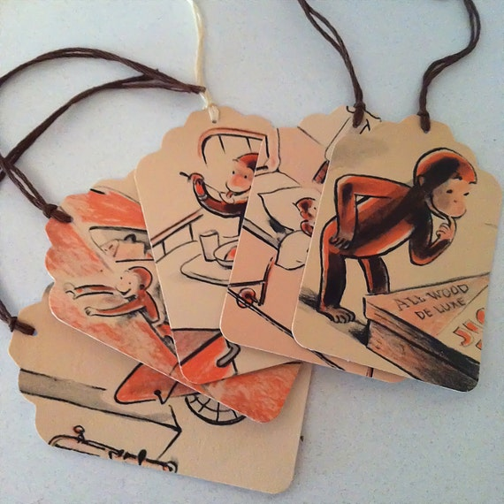CURIOUS GEORGE, 5 Gift Tags, VINTAGE, Scrapbooking, Table Setting, Party Decor, Birthday Presents, Gift Bags