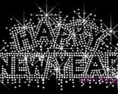 Happy New Year Clear Rhinestone Iron on Transfer Hot Fix Bling for 2012 - DIY