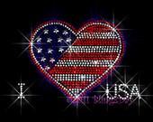 I Love USA - Heart - Iron on Rhinestone Transfer Hot Fix Bling Fourth of July 4th - DIY