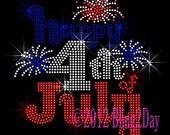 Happy 4th of July - Fireworks - Iron on Rhinestone Transfer Hot Fix Bling Fourth of July - DIY