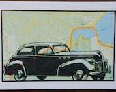 Hand made original blank greeting card - vintage pontiac car vc004