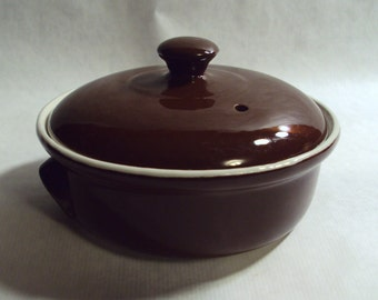 Hall China Vintage Restaurant Ware Individual Covered Casserole Dish Brown 822