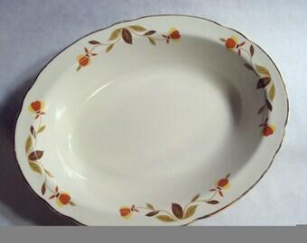 Vintage Hall China Jewel Tea Autumn Leaf Large Oval Vegetable Serving Bowl