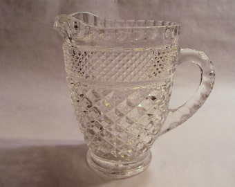 Vintage Anchor Hocking Glass Wexford Diamond Clear 16 Ounce Milk Pitcher