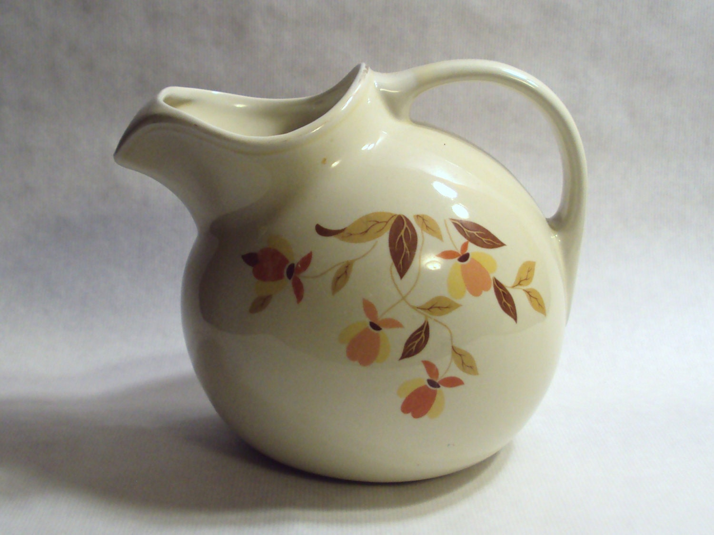 Vintage Hall China Jewel Tea Autumn Leaf Ball Jug Water