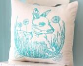 Pillow Cushion Cover Decorative Woodland Deer Dandelion Throw Linen 20x20 Flowers Grass Fawn Turquoise Hand Screen Print Gift
