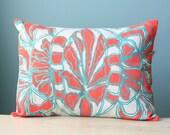 Pillow Cushion Cover Decorative Throw Linen 12x16 Lumbar Floral Design Coral Orange Turquoise Hand-Printed Screen Custom Print Modern Gift