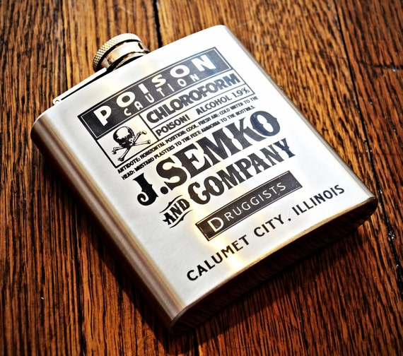 Flask - Custom 6oz Poison Flask, Personalized Engraved Hip Flask, Steampunk Flask, Groomsman Flask